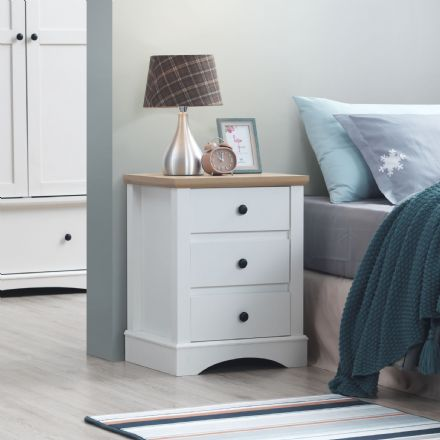 Carden White Nightstand with 3 Drawers